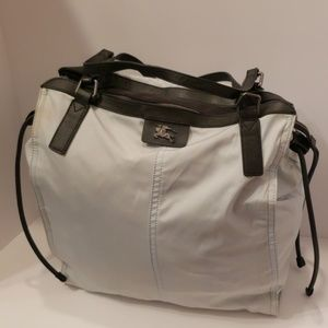 Burberry light blue nylon tote bag
